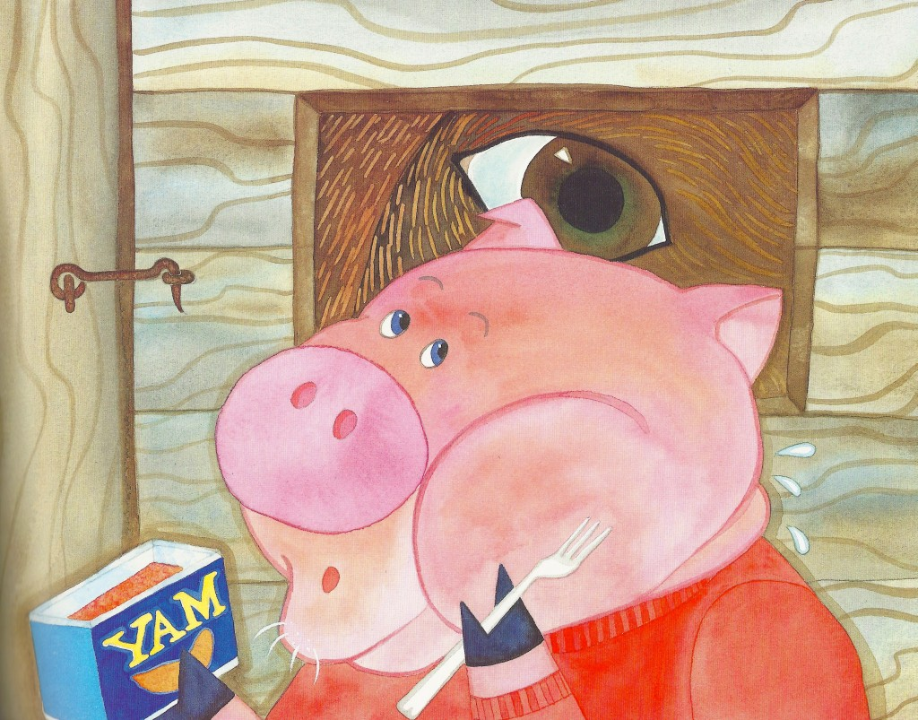 bear looks through the peek hole in the door making first little pig nervous